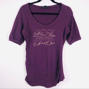 Express Purple Scoop Neck T-Shirt Size Large